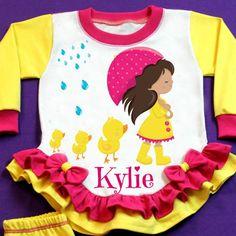Little Girl on the Rain Yellow Pajama!