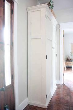See how you can transform your entry way with hiding a cute mudroom setup inside an armoire! Free plans for a DIY mudroom in an armoire! Entryway Closet, Entryway Bench Storage, Tall Cabinet Storage, Room Closet, Closet Space, Diy Storage, Mudroom Cabinets, Diy Cabinets, Storage Cabinets