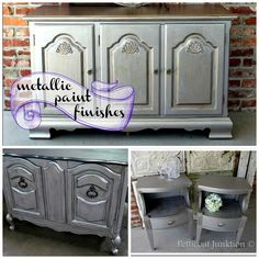 Metallic paint finishes for furniture, silver, gold, mixed. Petticoat Junktion  #metallic