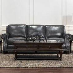 Trent Austin Design Riley Leather Sofa Upholstery Color: C Grey Leather Sofa, Fabric Sofa, Sofa, Farmhouse Living Room Furniture, Sofa Upholstery, Grey Sofa Living Room, Brown Living Room Decor, Traditional Furniture, Farm House Living Room