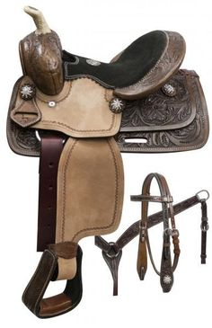 Double T pony saddle set with rainbow crystal rhinestones. This saddle features dark oil floral tooled skirts, pommel and cantle with rough out fend. Equestrian Outfits, Equestrian Style, Pony Saddle, Western Horse Tack, Western Saddles, Horse Supplies, Horse Saddles, Horse Love, Dark Horse