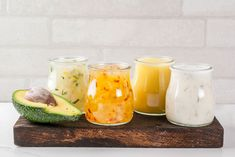 These four healthy homemade salad dressing recipes are so easy to make and contain no hidden nasties! Try the recipes here. Salads Up, Dinner Salads, Chopped Salads, Cilantro, Homemade Dressing Recipe, French Vinaigrette, Classic Salad, Roasted Pear, Grilled Peaches