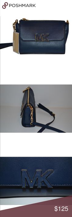 "Michael Kors cross body bag Florence blue mini messenger cross body bag. 7.5""x 2.0""x5.5"".  Leather adjustable strap 23"" -25 drop. Exterior features gold tone hard ware   Interior features 1 zip pocket 1 slip and key fob Bags Crossbody Bags"