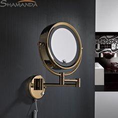 Rushed Free Shipping High Quality Solid Brass Gold Bathroom Led Cosmetic Mirror In Wall Mounted Mirrors Accessories-60019