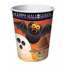 8 Count Happy Halloween Cups 9 oz Party Supplies - Orange