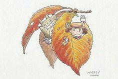 Anime Drawing Design My Neighbor Totoro Postcard - Private swap from ♥ Howl's Moving Castle, Studio Ghibli Art, Studio Ghibli Movies, Anime Manga, Anime Art, Mega Anime, Natsume Yuujinchou, Girls Anime, My Neighbor Totoro