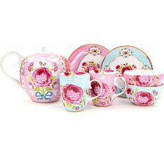 Pip Studio Big flower tea set - Pink/blue - Shabby Chic China