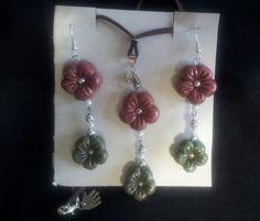 collana e orecchini fiore. completo in pasta di mais