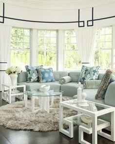 black, white, blue  Window Treatment - Daun Curry Interior Design