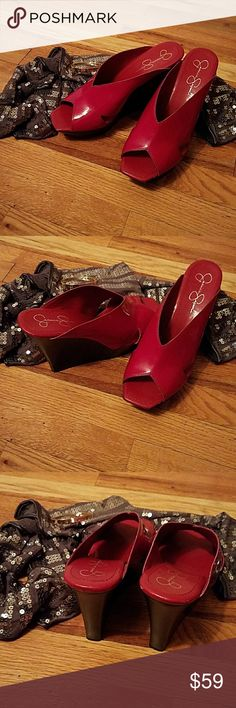 "Beautiful slides Jessica Simpson EUC Shiny patent red heels 4 7/8"" heel. Look great with white jeans, long shorts and dresses. Smoke-free home. Gently worn. Jessica Simpson Shoes Wedges"