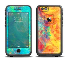 The Vibrant Colored Messy Painted Canvas Apple iPhone 6/6s Plus LifeProof Fre Case Skin Set from DesignSkinz
