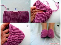 Jul 2016 - These slippers are so pretty !In early summer or Autumn, sometimes it is a little bit cold at night here, so a pair of warm and comfortable slippers Knit Slippers Free Pattern, Knitted Slippers, Knitted Hats, Easy Knitting, Knitting Socks, Knitting Patterns Free, Crochet Shoes, Knit Crochet, How To Tie Shoes