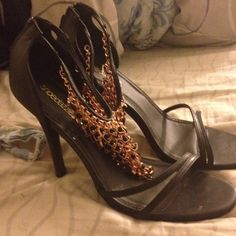 Gold ankle strappy heels Only worn a couple of time lighty very new 4 inch heel JustFab Shoes Heels