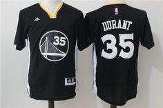 Men's Golden State Warriors #35 Kevin Durant Black Short-Sleeved Revolution 30 Swingman Basketball Jersey