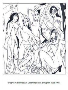 Les Demoiselles d'Avignon, Pablo Picasso: Coloring Page Pablo Picasso, Kunst Picasso, Art Picasso, Colouring Pages, Adult Coloring Pages, Coloring Books, Art Espagnole, Spanish Art, Elements Of Art