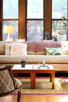 Pastel soft furnishings.