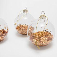 Bolas con estrellas doradas interior (set de 3) - Navidad | Zara Home España