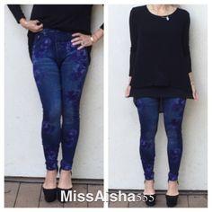 💥💥💥💥💥Printed jean leggings SALE Printed Jean leggings these are a one size Pants Leggings
