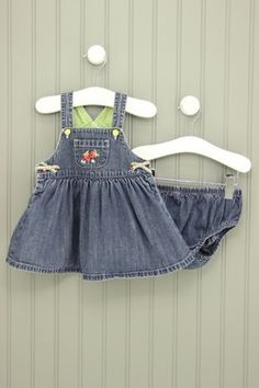 Talbots Kids Size 6M Denim Dress With Bloomers