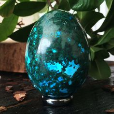 Rich Green Malachite With Sky Blue Chrysocolla  65 mm Crystal Egg by PACIFICMINERALS on Etsy