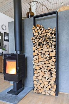 Diy Firewood Rack Ideas With Ingenious Designs - House &.- Diy Firewood Rack Ideas With Ingenious Designs – House & Living Diy Firewood Rack Ideas With Ingenious Designs – House & Living - Firewood Rack Plans, Indoor Firewood Rack, Firewood Holder, Fireplace Set, Fireplace Design, Wood Holder For Fireplace, Minimalist Fireplace, Wooden Sheds, Into The Woods