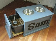Dog Feeding station/ for our puppies :) Dog Feeding Station, Dog Station, Home Organization, Dog Bowls, Home Projects, Home Improvement, Good Things, Puppies, Crafty