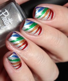 Easy Rainbow Nail Art with DIY Nail Polish Decals ~ featuring Pretty Serious polishes and a VIDEO TUTORIAL!   Sassy Shelly #nails #nailart #rainbow #DIY #nailtutorial #stepbystep #tutorial
