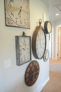 clock collage wall - this is how to make my love for clocks work!