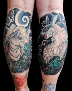 Japanese rabbits by Levi Polzin at Slave to the Needle in Seattle, WA.