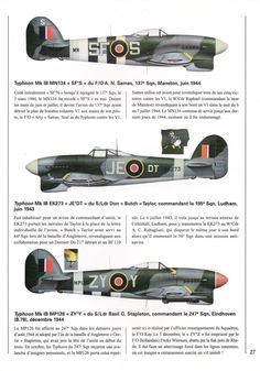 1941-1945 Hawker Typhoon. Fighter, Bomber. RAF, RCAF. Engine: 1 x Napier Sabre IIA, IIB, IIC, liquid-cooled H-24 piston engine (2,180, 2,200, 2,260 hp) Armament: 4 x 20mm Hispano Mk II cannons, 8 x RP-3 unguided air to ground rockets, 2 x 500 lb or 2 x 1,000 lb bombs. Max speed: 412 mph (663 km/h)