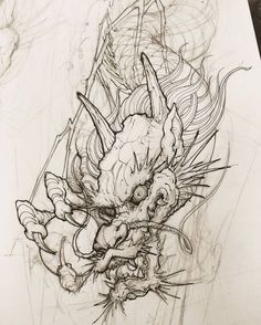 "4,157 Likes, 20 Comments - David Hoang (@davidhoangtattoo) on Instagram: ""Dragon sketch. #chronicink #asiantattoo #asianink #irezumi #tattoo #sketch #illustration #drawing…"""