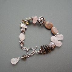 Radiant Rose and Smokey Quartz Bracelet Bohemian Bracelets, Handmade Bracelets, Fashion Bracelets, Jewelry Bracelets, Fashion Jewelry, Leather Jewelry Making, Homemade Jewelry, Beaded Jewelry, Jewellery