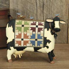 Cow wearing Quilt with Bluebirds Figurine - Everyday Folk Art Figurines & Collectibles – Williraye Studio $45.00