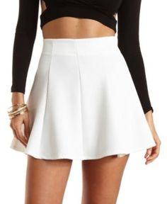 Ivory Textured Knit Skater Skirt