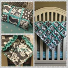 Custom Gray and Aqua Crib/Nursery Bedding Set  by meaganrobinson, $250.00 #baby #nursery