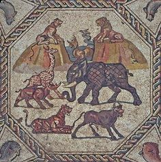 Detail of the 1,700-year-old Roman mosaic floor that was recovered from a garbage dump near Lod in central Israel.