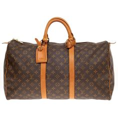 Pre-owned Louis Vuitton Keepall Monogram Canvas 50 ($825) ❤ liked on Polyvore featuring bags, luggage, louis vuitton, duffel bags and carry-on bags, handbags and purses and luggage and travel bags