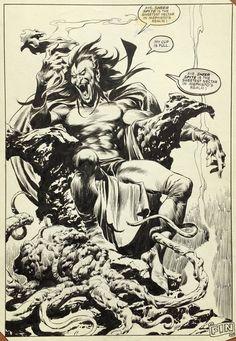 John Buscema Mephisto from Thor annual - comicbooks Comic Book Pages, Comic Book Artists, Comic Artist, Comic Books Art, Sal Buscema, John Buscema, Mephisto Marvel, Spiderman, Comic Art Girls