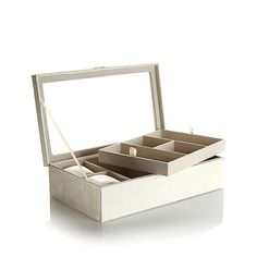 Colleen Lopez Colleen's Prestige™ Grain-Textured Large 2-Level Jewelry Box - Ivory/Off White
