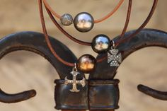 Tahitian Pearl w Pave Diamonds on Leather by HappyGoLuckyJewels, $237.00
