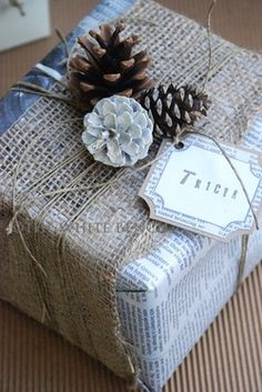 Love this look...and so economical too!!  Would be cool to wrap with articles that give hints as to what's inside!