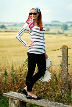 Beatnik style: Breton stripes, headscarf & black skinny jeans | Flickr - Photo Sharing!