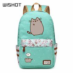 0acf3a9d16 Wis Pusheen Cat Canvas Bag Unicorn Flower Wave Point Rucksacks Backp