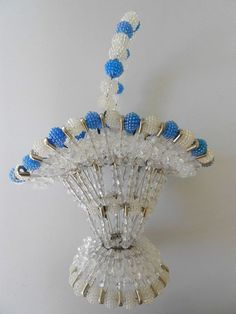 Vintage Safety Pin Basket Blue and White Beads Tramp Art Mid Century Retro 11''