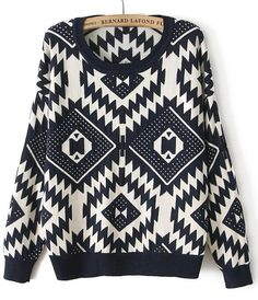 Navy Long Sleeve Geometric Pattern Sweater - Sheinside.com