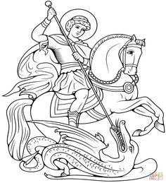 George Slaying the Dragon coloring page Dragon Illustration, Engraving Illustration, Dragon Coloring Page, Coloring Pages, Dragon Kid, Dragon Super, Dragon Tattoo Art, Saint George And The Dragon, Church Icon