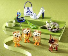 Pier 1 Glass Figurines are small, but make a big statement....love persey the peacock!!!