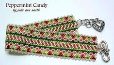 You are purchasing a digital pdf pattern...not the bracelet in the photo!!   THIS IS A FLAT ODD COUNT PEYOTE STITCHED PATTERN.  I love EVERY LITTLE THING about Christmas. As a child my Grandma would have peppermint candy for us in her milk glass candy bowl. Those memories inspired this bracelet design! MERRY CHRISTMAS!!  I stitched the original using a size 12 beading needle and 4lb FIRELINE fishing line.  I used size 11/0 Delica beads and some clear silver-lined, size 15/0 seeds for the…
