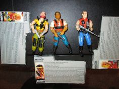 "GI Joe Vintage Action Figures, 1987 Hasbro GI  3 3/4"" - Sgt Slaughters Renagades, With Original File Cards and Equipment! by FriendsRetro on Etsy"