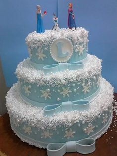 Frozen Themed Birthday Cake, Frozen Themed Birthday Party, 3rd Birthday Cakes, Themed Cakes, Frozen Party, Pastel Frozen, Elegant Birthday Cakes, Frosting Colors, Elsa Cakes